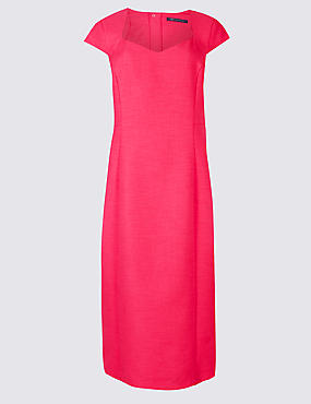 Stretch Crepe Cap Sleeve Bodycon Midi Dress