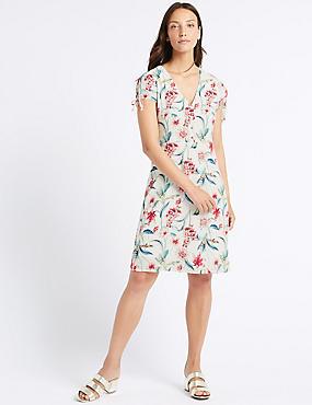 Floral Print Short Sleeve Tea Dress , IVORY MIX, catlanding