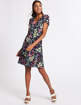 Floral Print Short Sleeve Tea Dress, NAVY MIX, catlanding