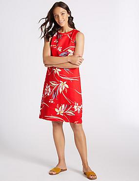 Linen Rich Floral Print Tunic Dress , RED MIX, catlanding