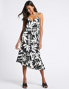 Printed Asymmetric Slip Midi Dress, BLACK MIX, catlanding