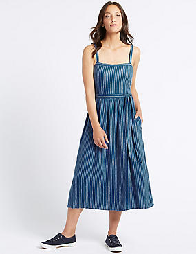 Linen Blend Striped Skater Midi Dress , BLUE, catlanding
