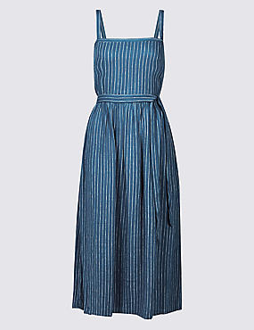Linen Blend Striped Skater Midi Dress