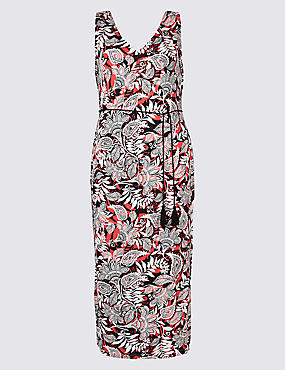 CURVE Paisley Print Slip Maxi Dress , BLACK MIX, catlanding