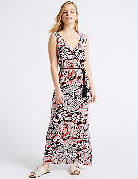 PETITE Paisley Print Slip Maxi Dress , BLACK MIX, catlanding