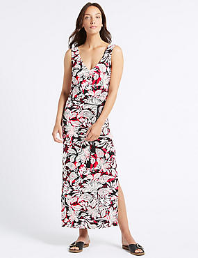 Paisley Print Slip Maxi Dress , BLACK MIX, catlanding