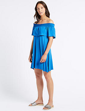 Half Sleeve Bardot Dress , BRIGHT BLUE, catlanding