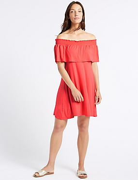 Half Sleeve Bardot Dress , FLAME, catlanding