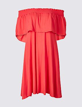 Half Sleeve Bardot Dress , FLAME, catlanding