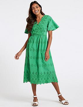 Pure Cotton Broderie Skater Midi Dress, GREEN, catlanding