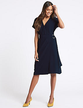 Tie Side Half Sleeve Wrap Dress