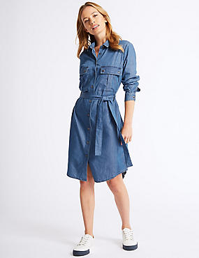 PETITE Shirt Midi Dress with Belt