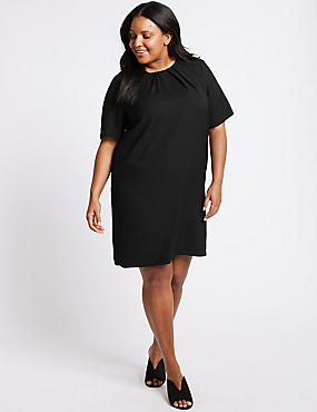 CURVE Pleated Short Sleeve Tunic Dress