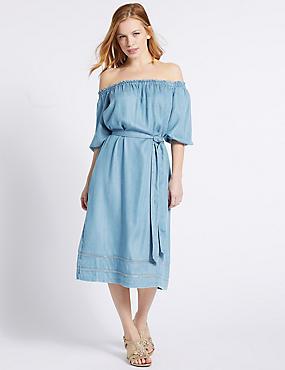 PETITE Tencel Half Sleeve Bardot Midi Dress , BLUE, catlanding