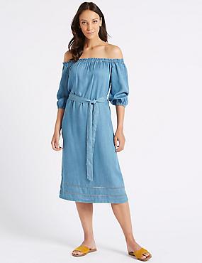3/4 Sleeve Bardot Midi Dress , BLUE, catlanding