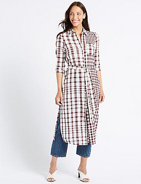 Pure Cotton Checked Shift Maxi Dress , WINE MIX, catlanding