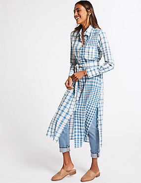 Pure Cotton Checked Shift Maxi Dress , BLUE MIX, catlanding