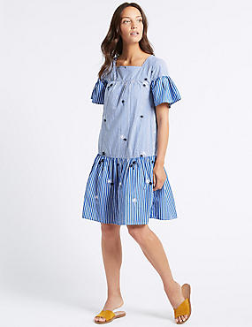Pure Cotton Embroidered Tunic Dress , BLUE MIX, catlanding