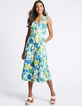 Pure Cotton Floral Print A-Line Midi Dress , GREEN MIX, catlanding