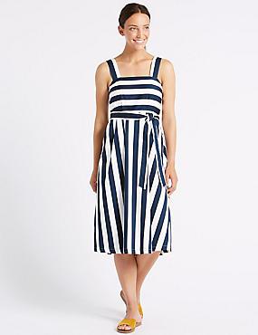 Cotton Rich Striped Skater Midi Dress , BLUE MIX, catlanding