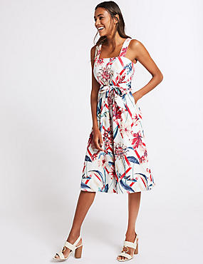 Cotton Rich Floral Print Skater Midi Dress , IVORY MIX, catlanding