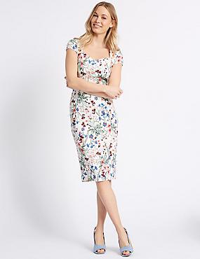 Floral Print Fuller Bust Bodycon Midi Dress , IVORY MIX, catlanding