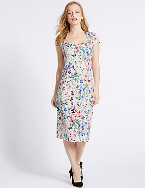 PETITE Floral Print Bodycon Midi Dress, IVORY MIX, catlanding