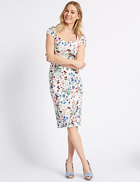 Floral Print Cap Sleeve Bodycon Midi dress , IVORY MIX, catlanding