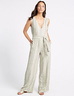 Linen Rich Striped Jumpsuit with Belt, IVORY MIX, catlanding