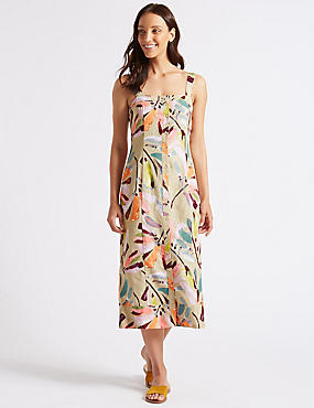 Linen Rich Daisy Print A-Line Midi Dress , STONE MIX, catlanding