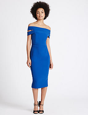 Bardot Split Back Bodycon Dress