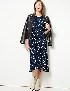 Spotted Half Sleeve Tea Midi Dress , NAVY MIX, catlanding
