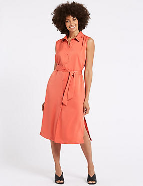 Spilt Hem Shirt Midi Dress , CORAL, catlanding