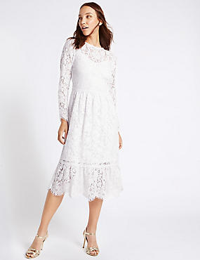 Cotton Blend Lace Detail Swing Midi Dress