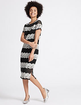 Floral Lace Short Sleeve Shift Midi Dress