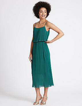 Plisse Double Layered Shift Midi Dress