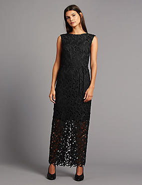Cutwork Floral Lace Maxi Dress with Belt