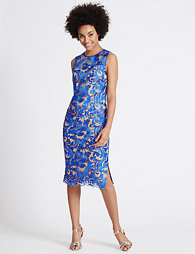 Flock Lace Shift Midi Dress