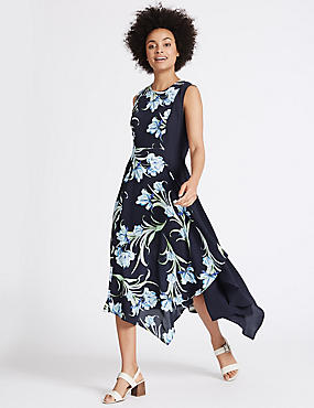 Printed Asymmetric Hem Swing Midi Dress