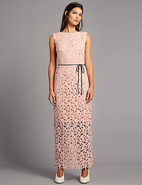 Lace Maxi Dress with Belt
