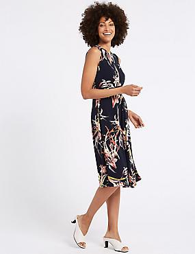 Floral Print Side Drape A-Line Midi Dress, NAVY MIX, catlanding