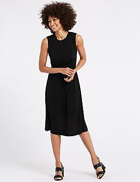 Side Drape A-Line Midi Dress, BLACK, catlanding