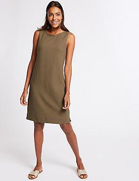 Linen Blend Tunic Dress , KHAKI, catlanding