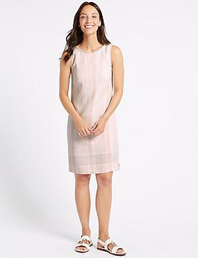 Linen Blend Striped Tunic Dress , PINK MIX, catlanding