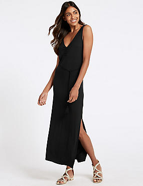 Ruched Front Slip Maxi Dress , BLACK, catlanding