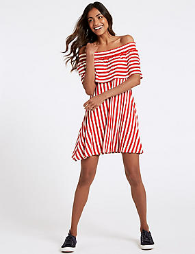 Striped Half Sleeve Bardot Dress