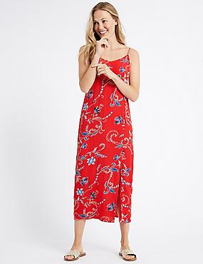 Floral Print Slip Maxi Dress, RED MIX, catlanding