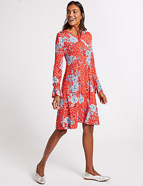 Floral Print Ruffle Long Sleeve Swing Dress, RED MIX, catlanding