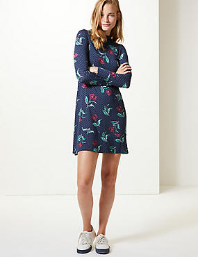 Floral Print Long Sleeve Swing Dress , NAVY MIX, catlanding