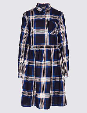 PETITE Pure Cotton Checked Drop Waist Dress , NAVY MIX, catlanding